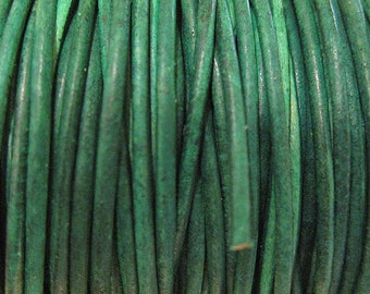 1.5mm Natural Dye Green Turquoise Round Leather Cord 2 yards for Wrap Bracelets Macrame Knotting Jewelry