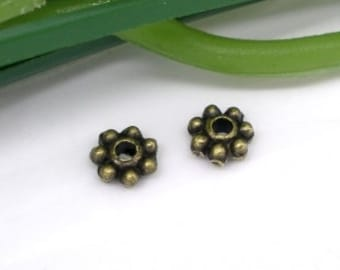 Antique Bronze Tone Heishe Daisy Spacers Rondelles 4mm Approx 250 pcs F416