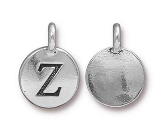 "Letter ""Z"" Initial Pendant Tiny Silver Charm TierraCast Antique Silver Alphabet Charms TierraCast Lead Free Pewter 16.5x11.5mm One Charm"