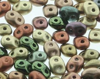 Super Duo Vintage Copper Mix Czech Pressed Glass Two Hole Seed Beads 2.5mm x 5mm 12 grams