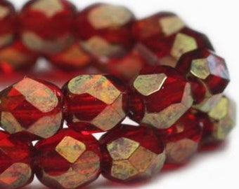 Fire Polished Crystals Red Transparent with Gold Luster 3mm Czech Glass Firepolished Crystal Beads 3mm 50 beads