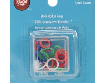 Stitch Marker Rings for Knitting Open Coil in Plastic Case Mixed Colors 20 pcs