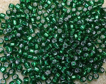 6/0 Green Silver Lined Japanese Seed Beads 6 Inch Tube 28 grams #16