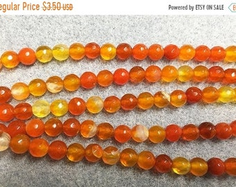 ON SALE Clearance Agate Orange Round Faceted Gemstone Beads 6mm