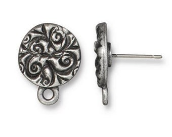 Earring Posts Antiqued Pewter Plated Jardin Earring Studs with Ear Nuts Earring 1 pair F241B