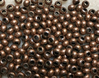 6/0 Copper Oxide Plated 100% Brass Round Seed Beads Made in the USA Approx 10 grams