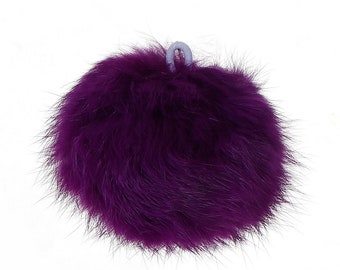 "Dark Purple Angora Pom Pom Ball with Loop for Craft Projects Hat Decoration Knitting Crochet 80mm (3 1/8"")"