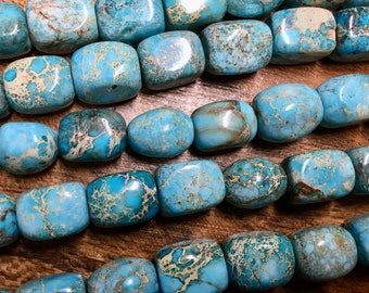 Aqua Terra Jasper Turquoise Blue 16x12mm Gemstone Nuggets Approx. 12 beads