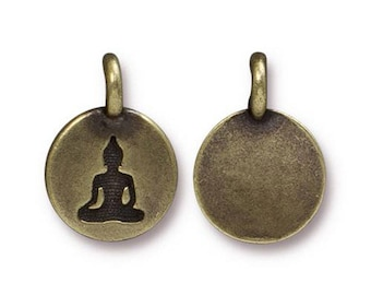 Buddha Charm Yoga Meditation Oxidized Brass Small Buddha Charm TierraCast Lead Free Pewter 17mm x 12mm 1 pc