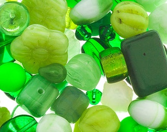 Shades of Green Czech Glass Beads Assorted Bead Mix 50 grams