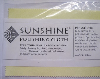 Sunshine Polishing Cloth 7.5 x 5 inches Cleans Jewelry Non Scratch Tarnish Remover