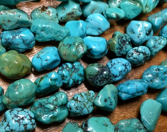 Chinese Turquoise Blue Green Gemstone 10mm to 14mm Variable Shapes Sizes Nugget Beads Approx 16 beads 8 inch strand