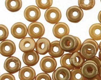 Zero O Beads Amber Pastel Czech Glass Donut Ring Beads 3.8x1mm 8.1 grams