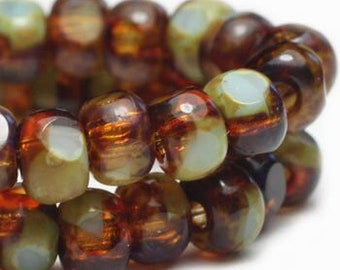 Trica Beads Amber and Tea Green with Picasso Finish Czech Pressed Glass Rondelles Beads 4x3mm 50 beads