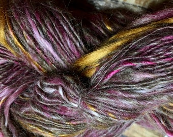 Grandma's Oak Trunk Hand-spun Yarn Lace Weight Alpaca Silk Blend Single Ply by Housecats Hats 204 yards
