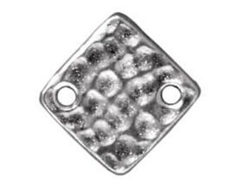 Hammertone Diamond Link 12.1mm TierraCast Rhodium Plated Made in the USA 4 pcs