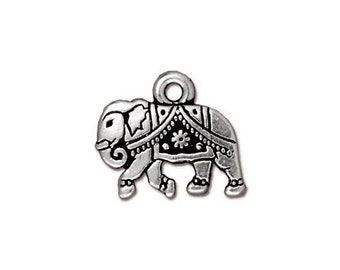 Antique Silver Gita Elephant Double Sided Charms TierraCast Lead Free Pewter 19mm x 10mm One Charm F268D