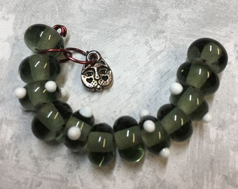 Forest Handmade Lampwork Glass Beads by LGL Beads Set of 12 Dark Green with White Raised Dot Glass Bead Set with Cat Charm