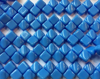 Blue Opaque Two Hole Silky Czech Pressed Glass 6mm Two Hole Angled Square Beads 40 pcs