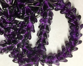 Purple Pansy with Purple Wash Czech Pressed Glass 5 Petal Star Flower Beads 6mm x 8mm 25 beads