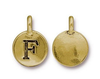 "Letter ""F"" Initial Pendant Tiny Gold Charm TierraCast Antique Gold Alphabet Charms TierraCast Lead Free Pewter 16.5x11.5mm One Charm"
