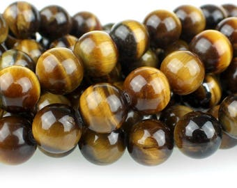 Tiger Eye 10mm Gemstone Rounds Approx 19 beads 8 Inch strand