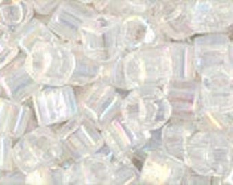 Clearance Transparent Rainbow Crystal 3mm Toho Cube Beads 2.5 inch Tube 8 grams TC-03-161