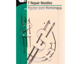 Dritz Repair Needles for Leather Canvas Sail Carpet Sacks 7 Needles
