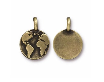 Oxidized Brass Earth Charm TierraCast Lead Free Pewter 16.5x11.5mm One charm F452D