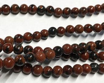 Mahogany Obsidian Gemstone Smooth Rounds 4mm 8 inch strand Approx 45 pcs per strand
