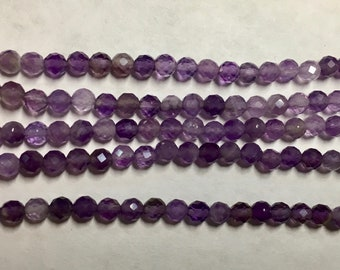 Amethyst 3mm Faceted Gemstone Round Beads Approx 60 Beads