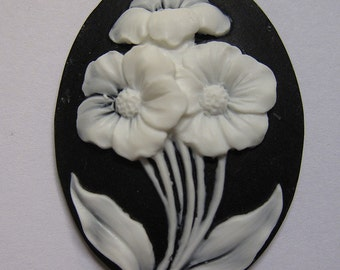 Fresh Cut Flower Bouquet Cameo with Black Background Jewelry Cabochon Pendant 40mm x 30mm