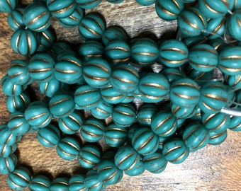 8mm Melon Beads Sea Green with Copper Finish Czech Pressed Glass Round Corrugated Melon Beads 8mm 20 beads