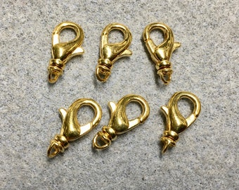Swivel Lobster Clasp 18kt Gold Plated Brass Lobster Claw Clasps 15mm with Swivel 6 pcs F265