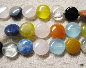 Mixed Gemstone Puffed Coin Beads 10mm