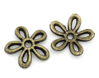 20 Bell Flower Bead Caps Antique Bronze Dot Carved Pattern 10mm x 5mm F105
