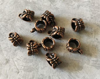 Bail Beads Antique Copper Large Bails Charm Holders with Carved Dragonfly Pattern European Style 8x6mm 10 pcs F306A