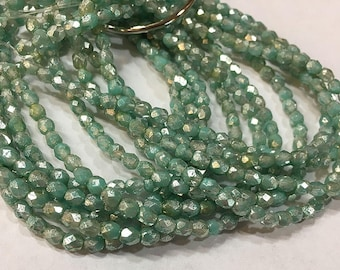 4mm Mint Silver Mercury Look Czech Glass Firepolished Crystal Beads 4mm