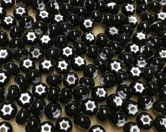 32/0 Black Preciosa Ornela Star Cornelian Rocaille Seed Beads 6x7mm 20 pcs