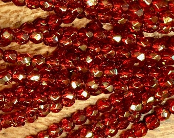 3mm Red Transparent with Gold Luster Czech Glass Firepolished Crystal Beads 3mm 50 beads