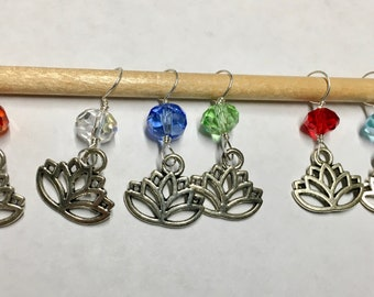 Lotus Flower Stitch Markers with Multi Color  Glass Crystal Beads Chakra Snag Free Stitch Markers Fits Up to Size 8 Needles Set of 6