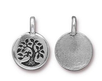 ON SALE Bird in a Tree Charm Nature Antique Silver Small Tree Charm TierraCast Lead Free Pewter 17mm x 12mm 1 pc