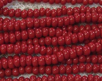 6/0 Dark Red Opaque Genuine Preciosa Czech Glass Seed Beads One Strand 11 grams