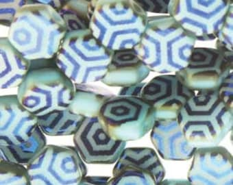 Honeycomb Beads Turquoise Laser Web Azuro Czech Pressed Glass Hexagon Two Hole Beads 6mm 30 beads