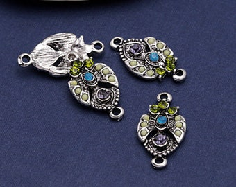 2 Grapevine Pointed Drop Focal Link 12x22mm Zola Elements Pendant Link Antique Silver Finish Glass Rhinestones 2 pcs F223H