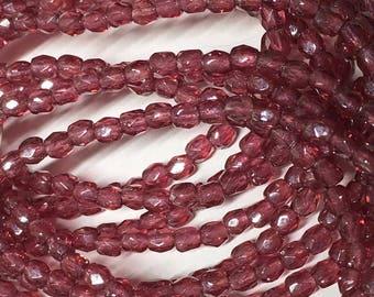 Fuchsia Czech Glass Firepolished Crystal Beads 3mm 50 beads