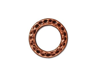 Medium Hammertone Antique Copper Flat Closed Rings TierraCast Lead Free Pewter 13mm 2 Rings F379A
