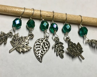 Falling Leaves Stitch Markers with Teal Green Glass Crystal Beads Snag Free Stitch Markers Fits Up to Size 8 Needles Set of 6
