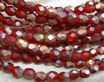 Red Copper Matte Czech Glass Fire polished Crystal Beads 4mm