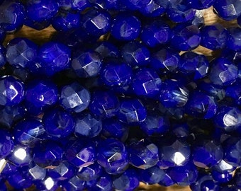 6mm Indigo Blue Opaque Transparent Czech Glass Fire polished Crystal Beads 25 beads